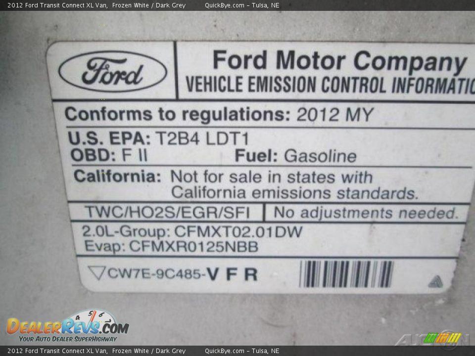 2012 Ford Transit Connect XL Van Frozen White / Dark Grey Photo #13