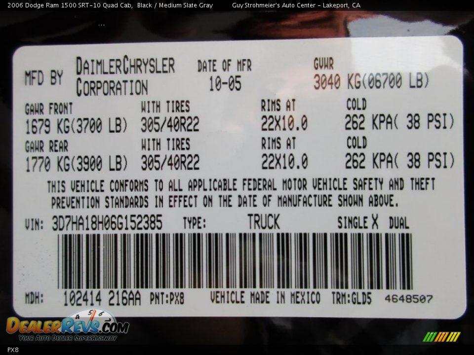 Dodge Color Code PX8 Black