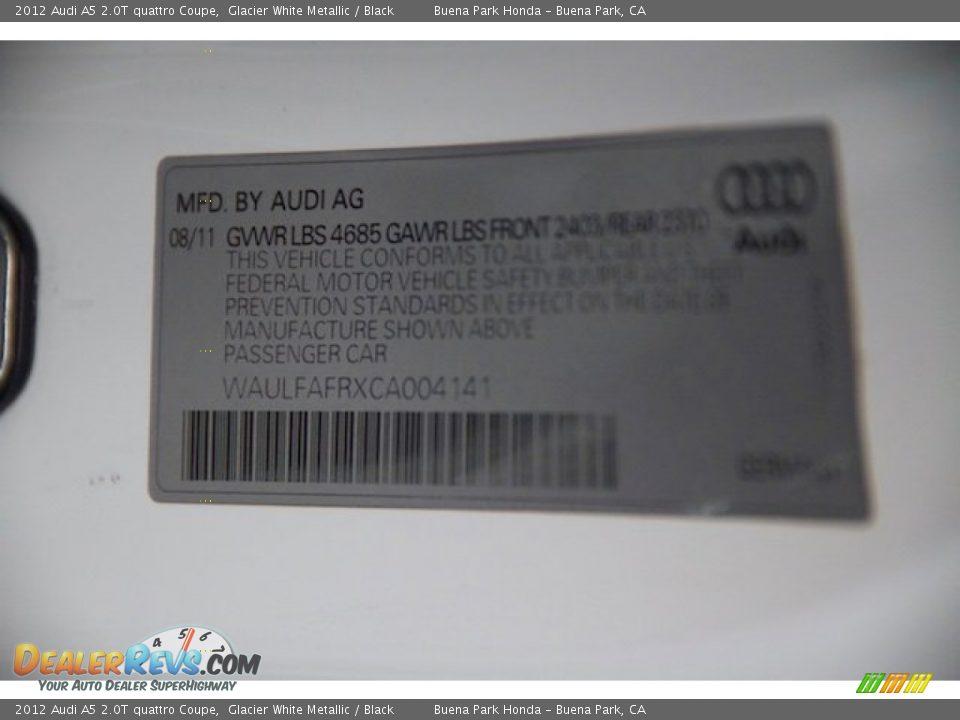 2012 Audi A5 2.0T quattro Coupe Glacier White Metallic / Black Photo #28