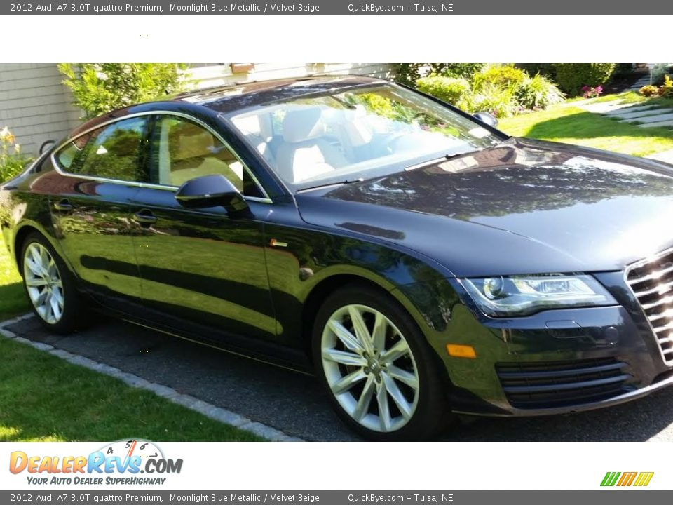 2012 Audi A7 3.0T quattro Premium Moonlight Blue Metallic / Velvet Beige Photo #2