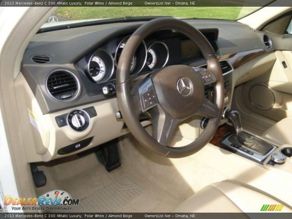 2013 Mercedes-Benz C 300 4Matic Luxury Polar White / Almond Beige Photo #6