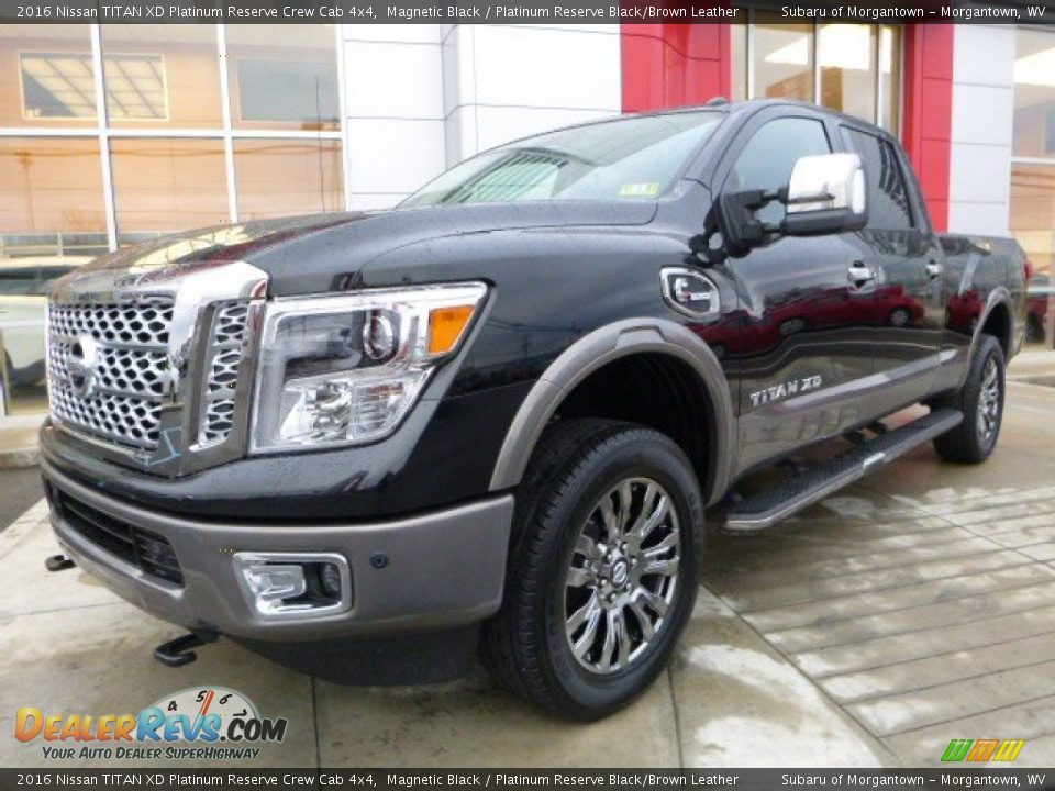 front 3 4 view of 2016 nissan titan xd platinum reserve crew cab 4x4 photo 15. Black Bedroom Furniture Sets. Home Design Ideas