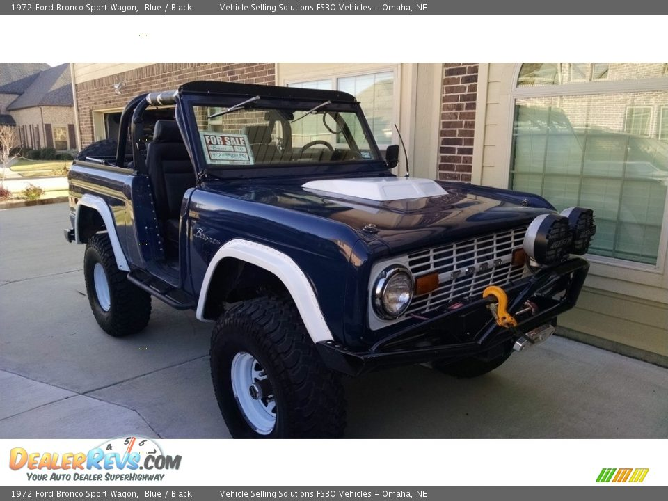 1972 Ford Bronco Sport Wagon Blue / Black Photo #1