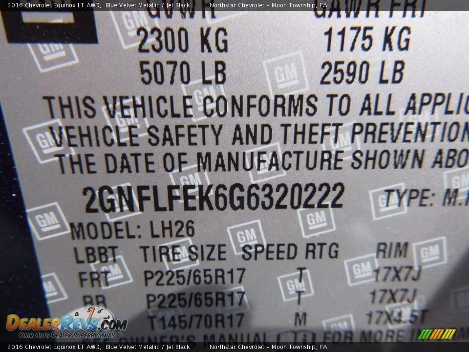 2016 Chevrolet Equinox LT AWD Blue Velvet Metallic / Jet Black Photo #14