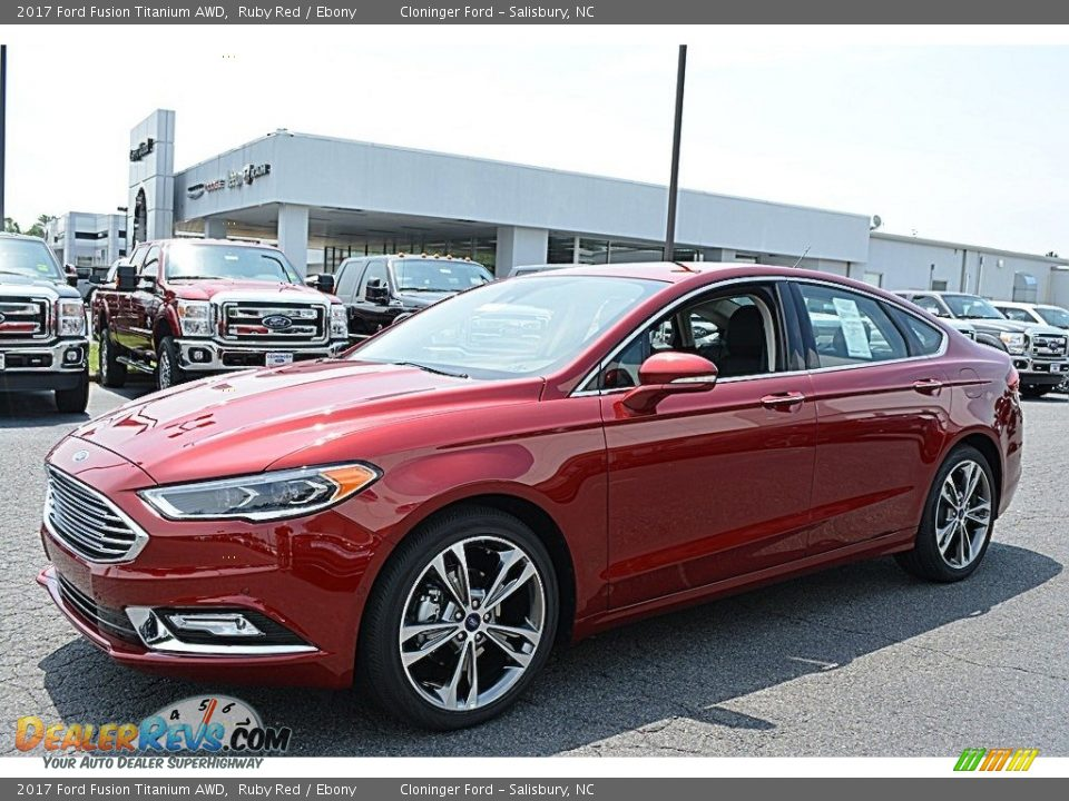 2017 Ford Fusion Titanium AWD Ruby Red / Ebony Photo #3