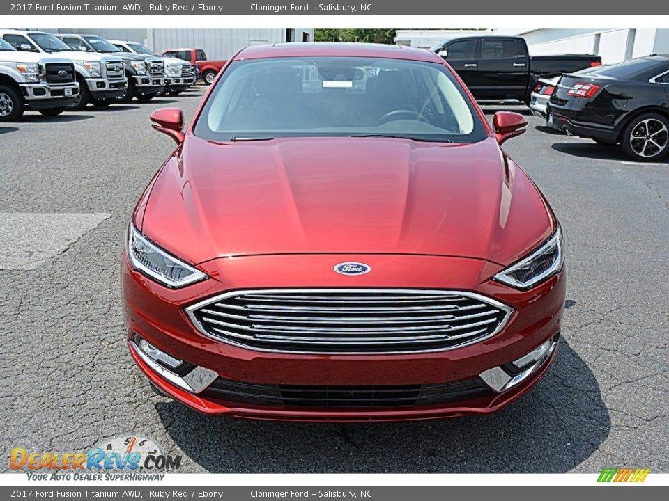 2017 Ford Fusion Titanium AWD Ruby Red / Ebony Photo #4