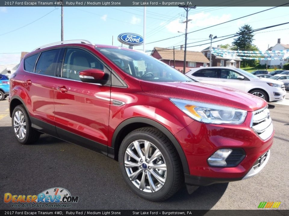 2017 Ford Escape Titanium 4WD Ruby Red / Medium Light Stone Photo #3
