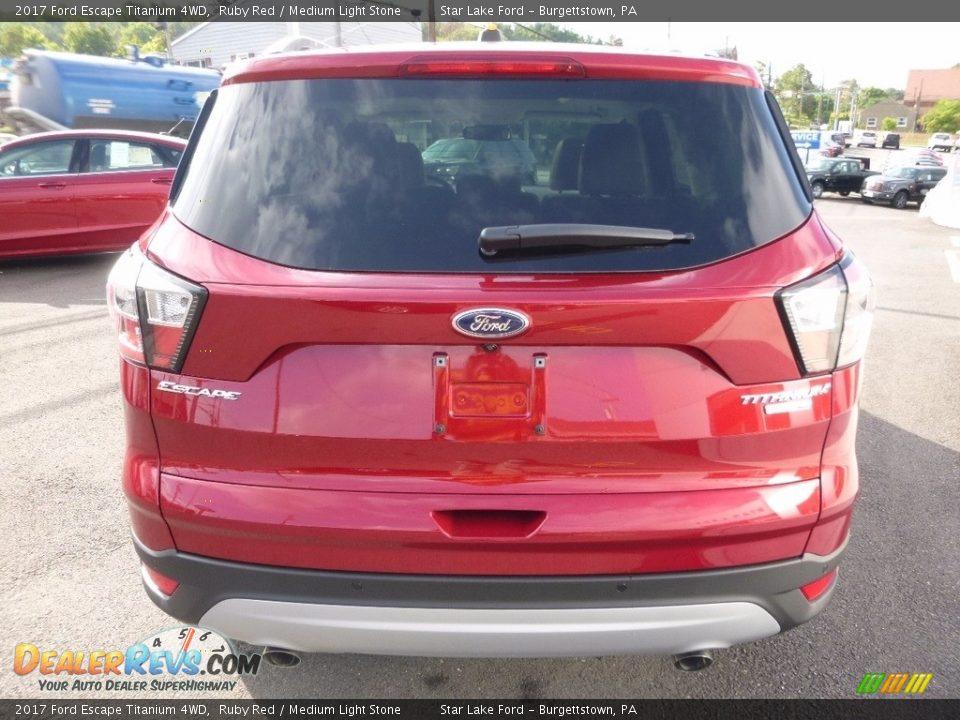 2017 Ford Escape Titanium 4WD Ruby Red / Medium Light Stone Photo #6
