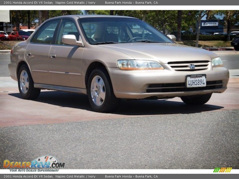 2001 Honda Accord EX V6 Sedan Naples Gold Metallic / Ivory Photo #1