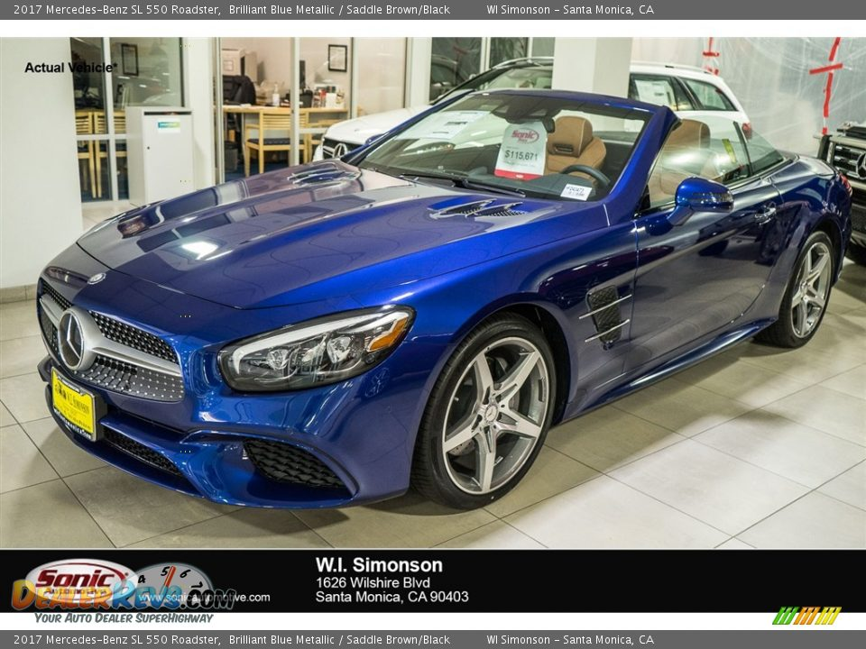2017 Mercedes-Benz SL 550 Roadster Brilliant Blue Metallic / Saddle Brown/Black Photo #1