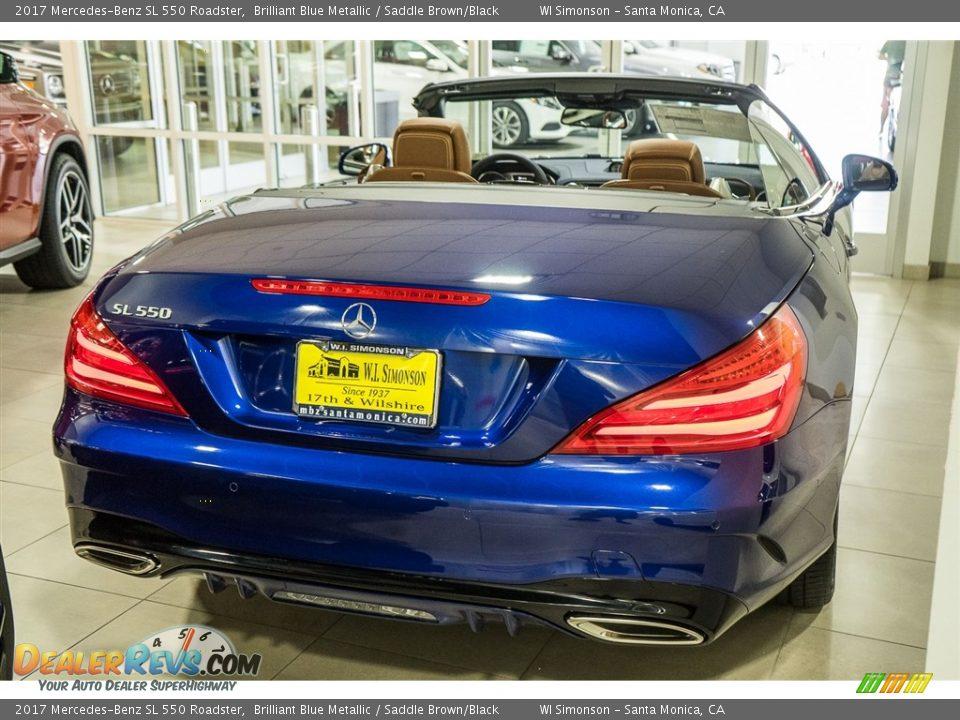 2017 Mercedes-Benz SL 550 Roadster Brilliant Blue Metallic / Saddle Brown/Black Photo #4