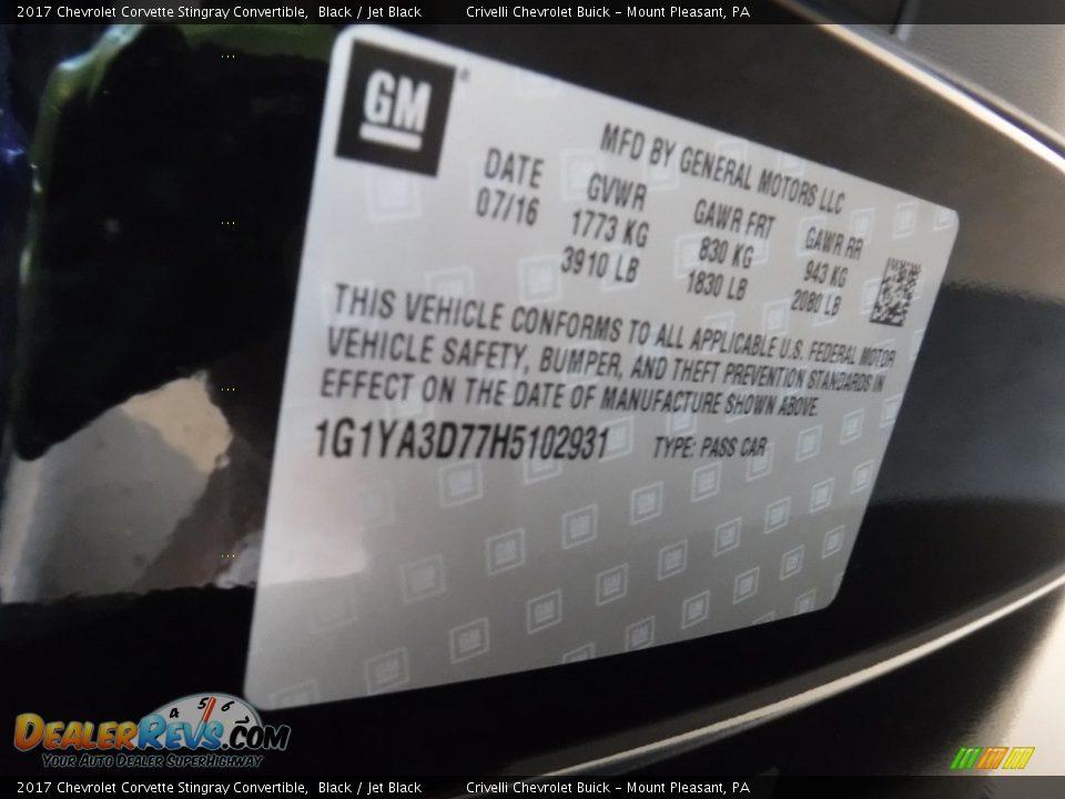 2017 Chevrolet Corvette Stingray Convertible Black / Jet Black Photo #30
