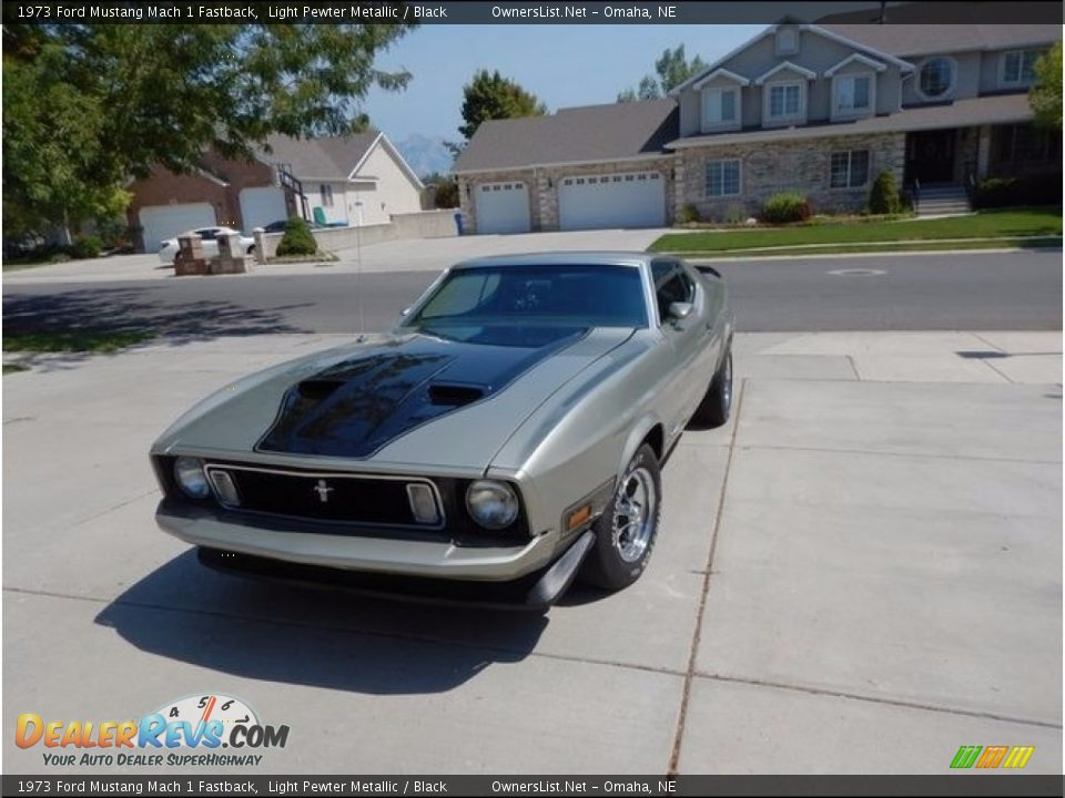 1973 Ford Mustang Mach 1 Fastback Light Pewter Metallic / Black Photo #2