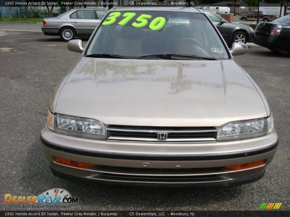 1992 Honda Accord EX Sedan Pewter Gray Metallic / Burgundy Photo #2