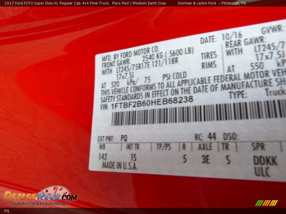 Ford Color Code PQ Race Red