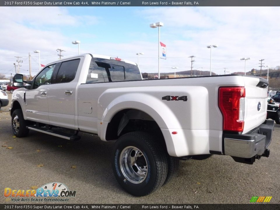 2017 Ford F350 Super Duty Lariat Crew Cab 4x4 White Platinum / Camel Photo #4