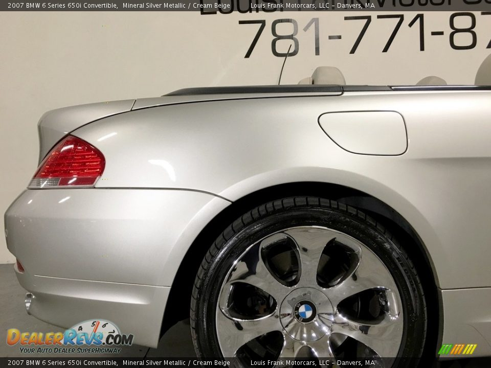 2007 BMW 6 Series 650i Convertible Mineral Silver Metallic / Cream Beige Photo #35