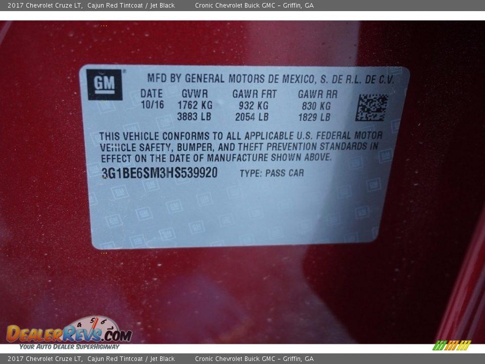 2017 Chevrolet Cruze LT Cajun Red Tintcoat / Jet Black Photo #16