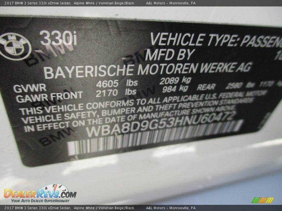 2017 BMW 3 Series 330i xDrive Sedan Alpine White / Venetian Beige/Black Photo #19