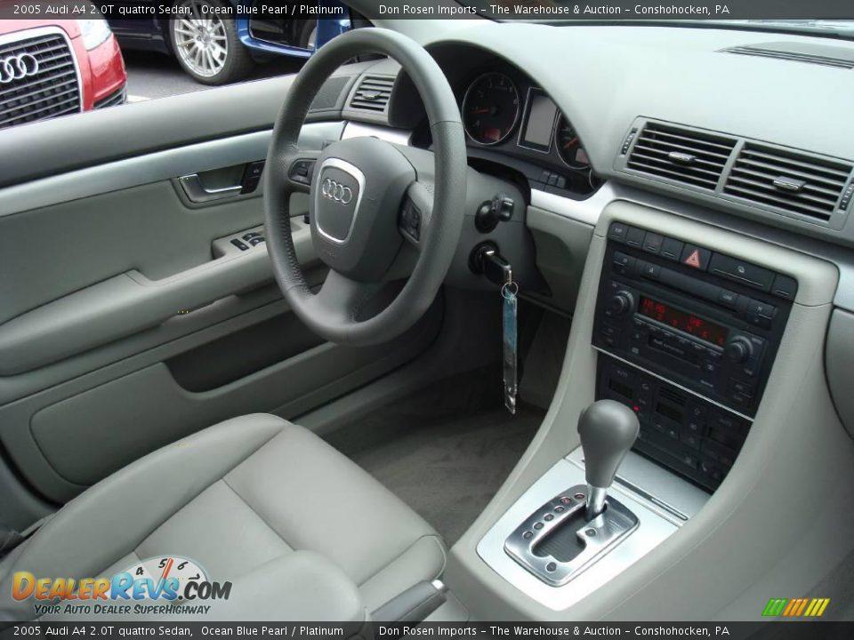 2005 Audi A4 2.0T quattro Sedan Ocean Blue Pearl / Platinum Photo #18 ...