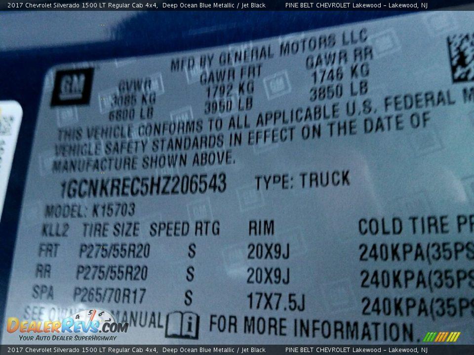 2017 Chevrolet Silverado 1500 LT Regular Cab 4x4 Deep Ocean Blue Metallic / Jet Black Photo #10