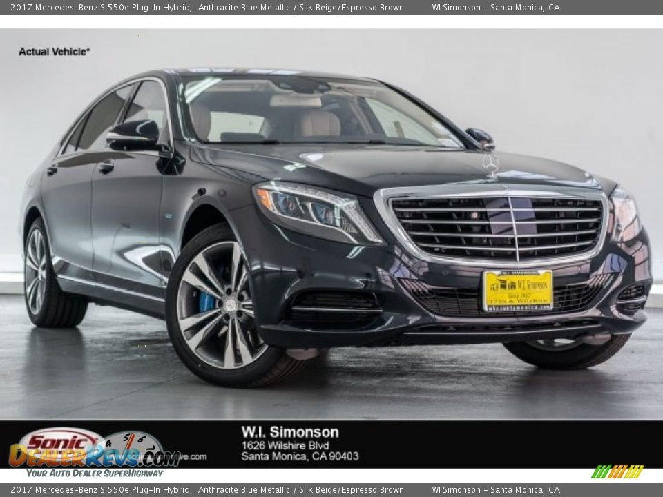 2017 Mercedes-Benz S 550e Plug-In Hybrid Anthracite Blue Metallic / Silk Beige/Espresso Brown Photo #1