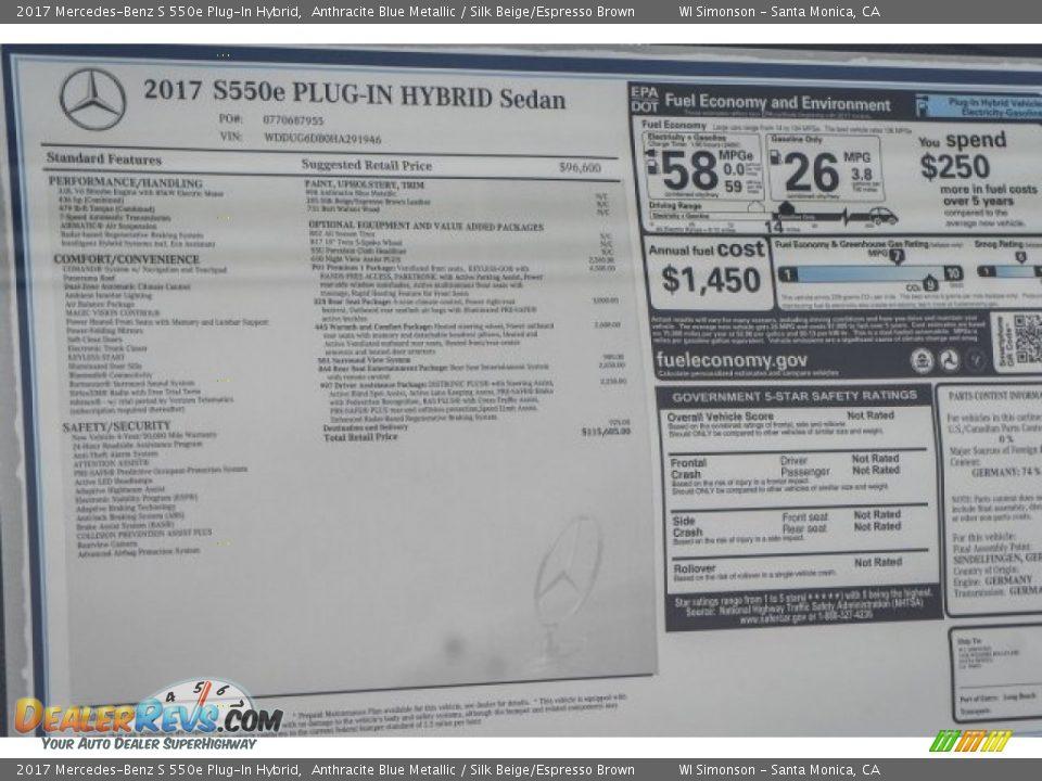 2017 Mercedes-Benz S 550e Plug-In Hybrid Anthracite Blue Metallic / Silk Beige/Espresso Brown Photo #11