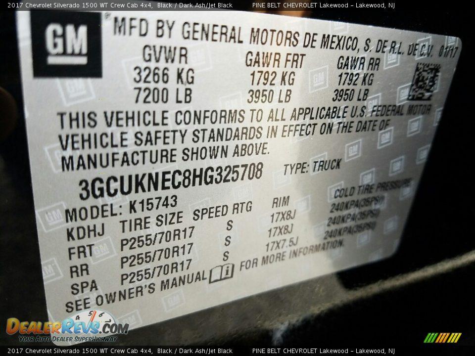 2017 Chevrolet Silverado 1500 WT Crew Cab 4x4 Black / Dark Ash/Jet Black Photo #7