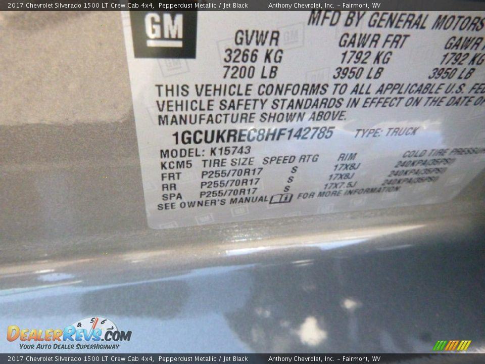 2017 Chevrolet Silverado 1500 LT Crew Cab 4x4 Pepperdust Metallic / Jet Black Photo #15