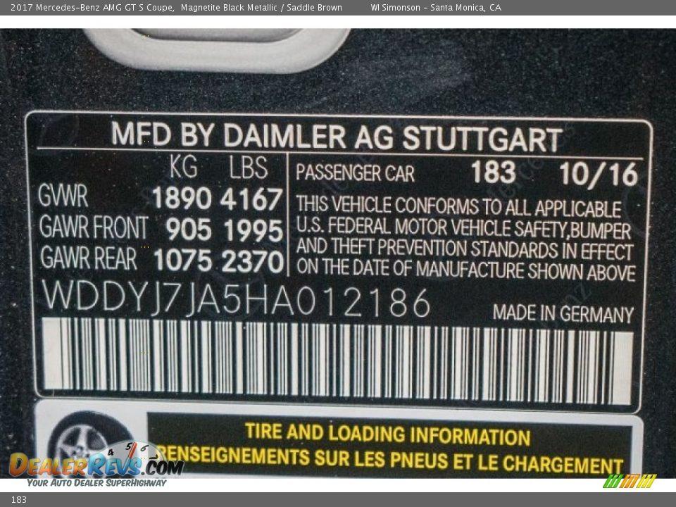 Mercedes-Benz Color Code 183 Magnetite Black Metallic