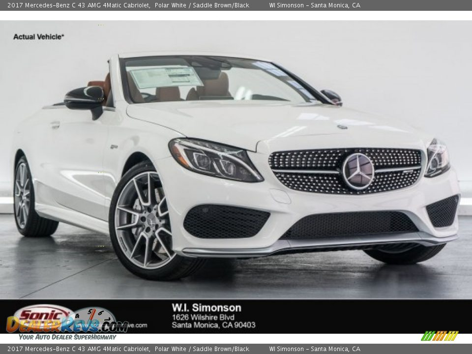 2017 Mercedes-Benz C 43 AMG 4Matic Cabriolet Polar White / Saddle Brown/Black Photo #1