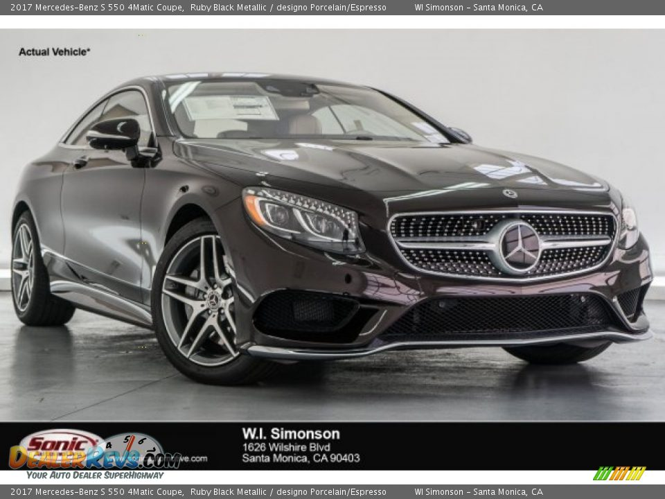 2017 Mercedes-Benz S 550 4Matic Coupe Ruby Black Metallic / designo Porcelain/Espresso Photo #1