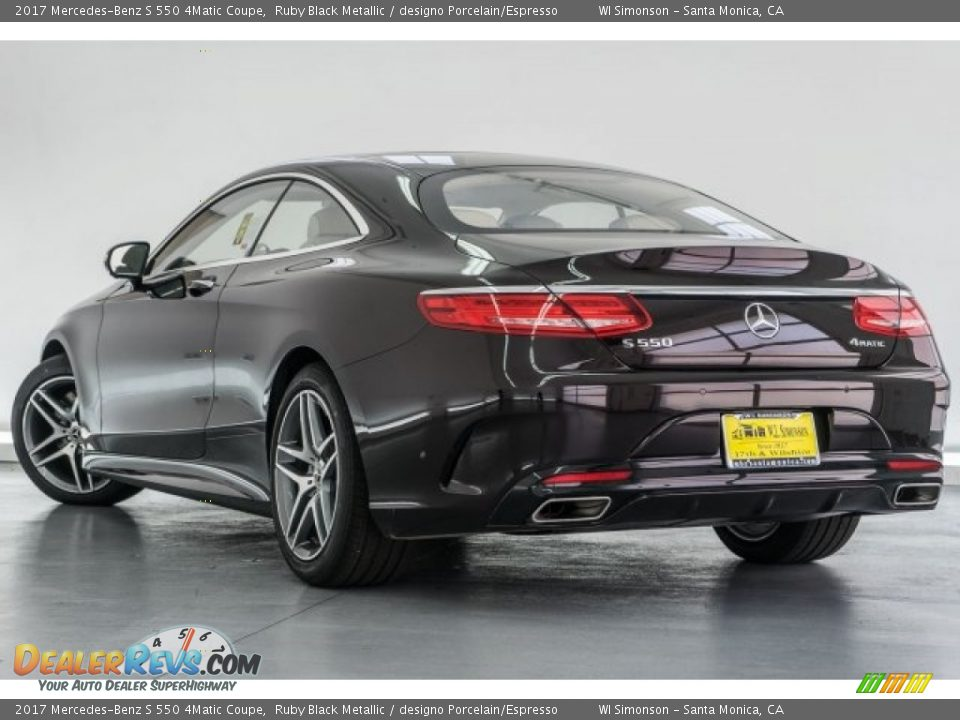 2017 Mercedes-Benz S 550 4Matic Coupe Ruby Black Metallic / designo Porcelain/Espresso Photo #3