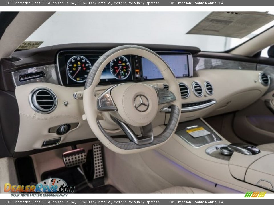 2017 Mercedes-Benz S 550 4Matic Coupe Ruby Black Metallic / designo Porcelain/Espresso Photo #5