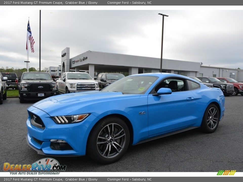 2017 Ford Mustang GT Premium Coupe Grabber Blue / Ebony Photo #3