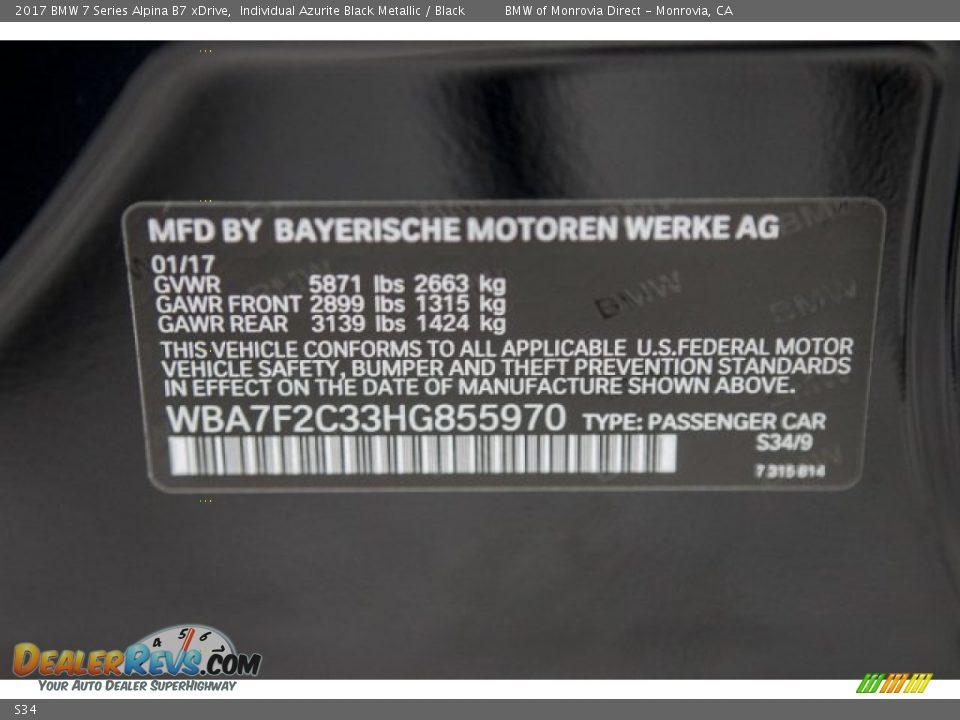 BMW Color Code S34 Individual Azurite Black Metallic