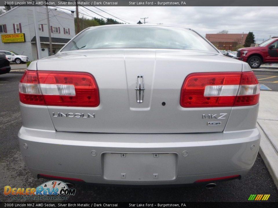 2008 Lincoln MKZ AWD Sedan Silver Birch Metallic / Dark Charcoal Photo #6