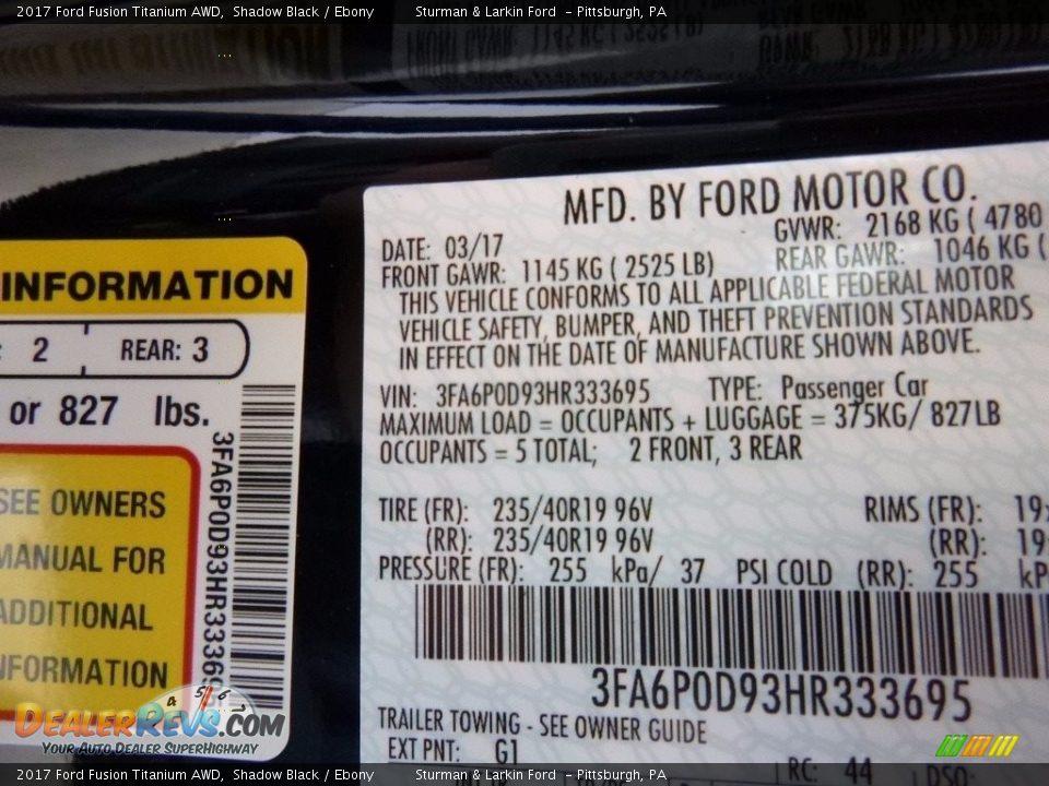2017 Ford Fusion Titanium AWD Shadow Black / Ebony Photo #11