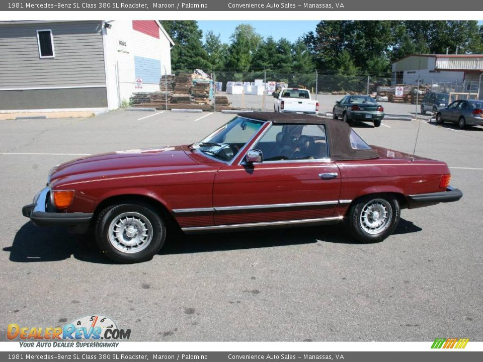 1981 mercedes benz sl class 380 sl roadster maroon. Black Bedroom Furniture Sets. Home Design Ideas