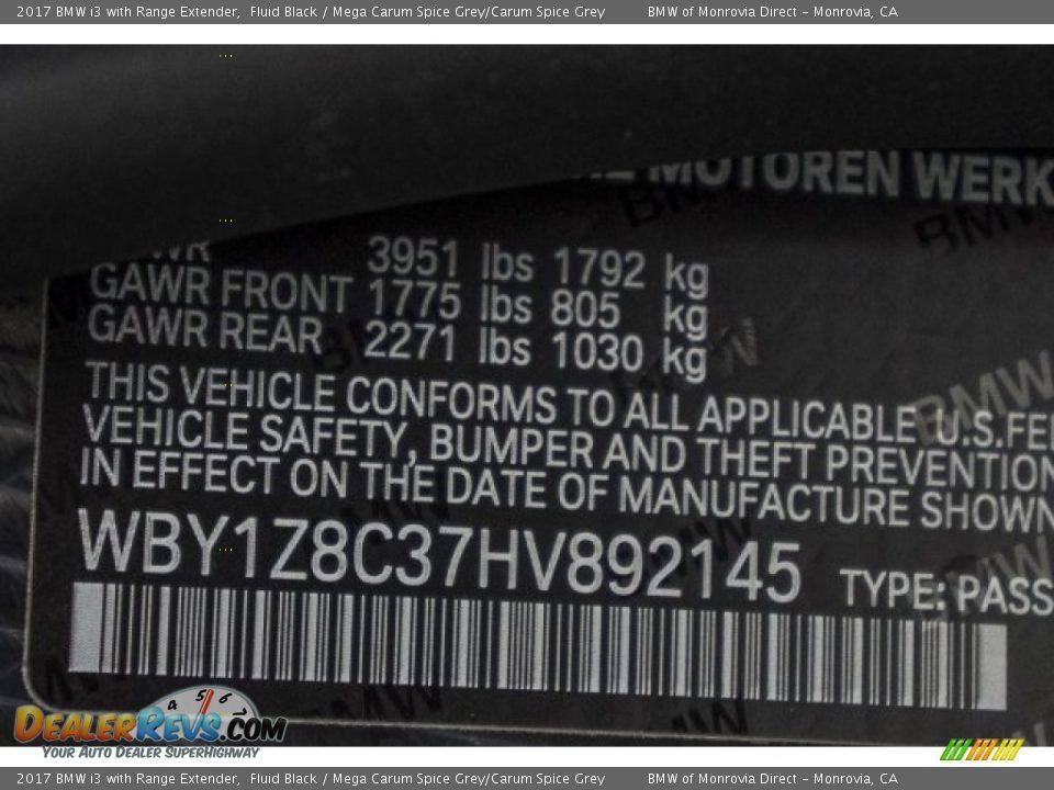 2017 BMW i3 with Range Extender Fluid Black / Mega Carum Spice Grey/Carum Spice Grey Photo #11