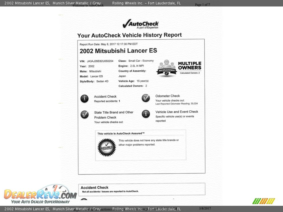 Dealer Info of 2002 Mitsubishi Lancer ES Photo #36