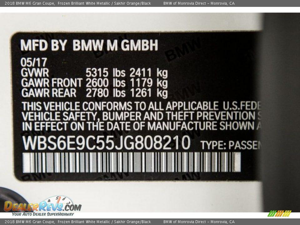 2018 BMW M6 Gran Coupe Frozen Brilliant White Metallic / Sakhir Orange/Black Photo #11
