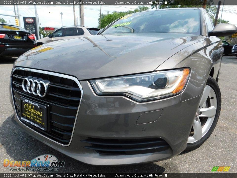 2012 Audi A6 3.0T quattro Sedan Quartz Gray Metallic / Velvet Beige Photo #1
