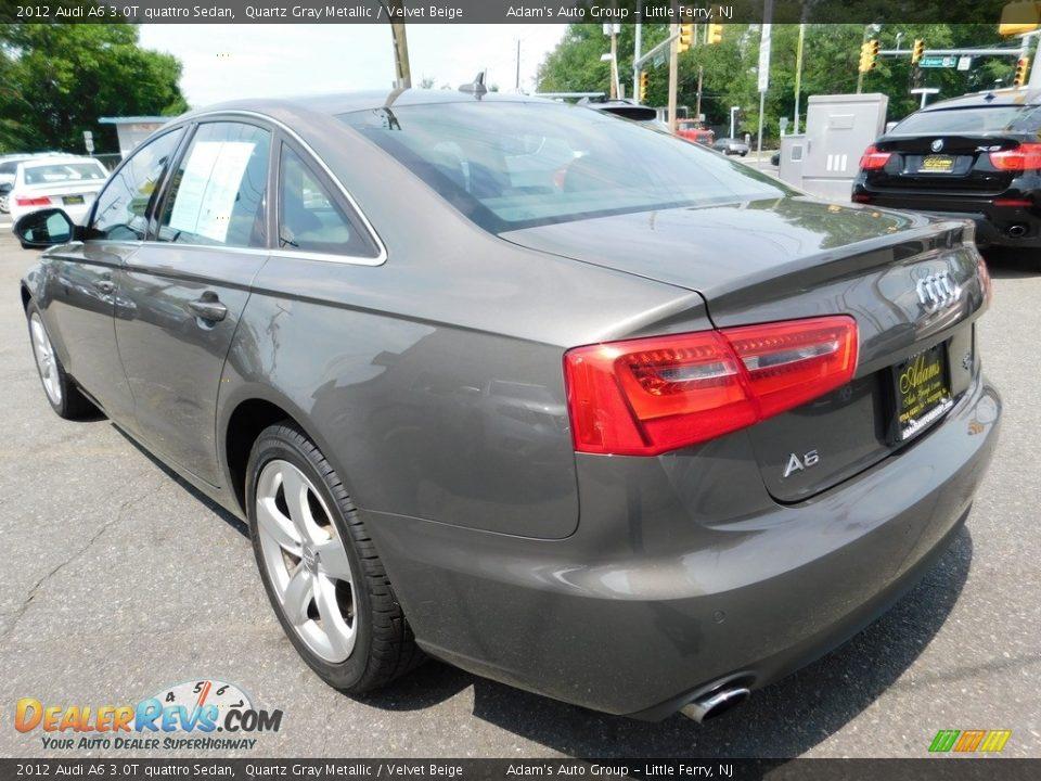 2012 Audi A6 3.0T quattro Sedan Quartz Gray Metallic / Velvet Beige Photo #7