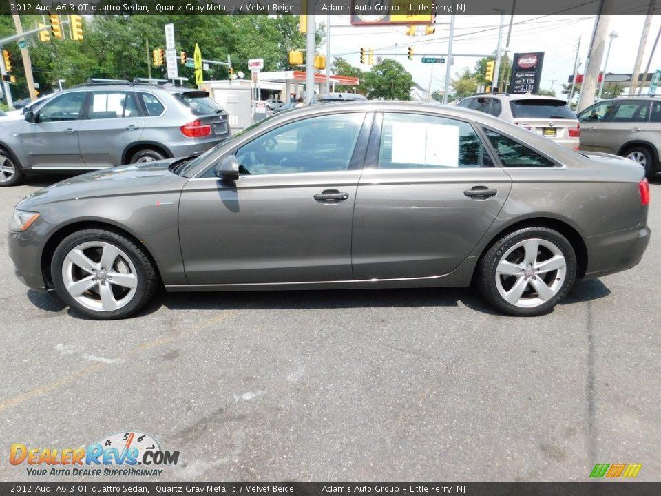 2012 Audi A6 3.0T quattro Sedan Quartz Gray Metallic / Velvet Beige Photo #8