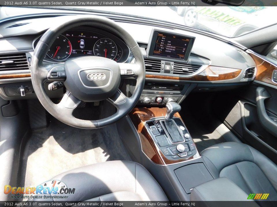 2012 Audi A6 3.0T quattro Sedan Quartz Gray Metallic / Velvet Beige Photo #16