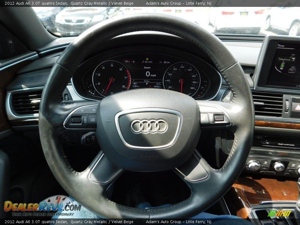 2012 Audi A6 3.0T quattro Sedan Quartz Gray Metallic / Velvet Beige Photo #19