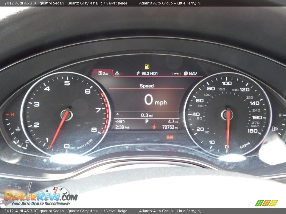 2012 Audi A6 3.0T quattro Sedan Quartz Gray Metallic / Velvet Beige Photo #22