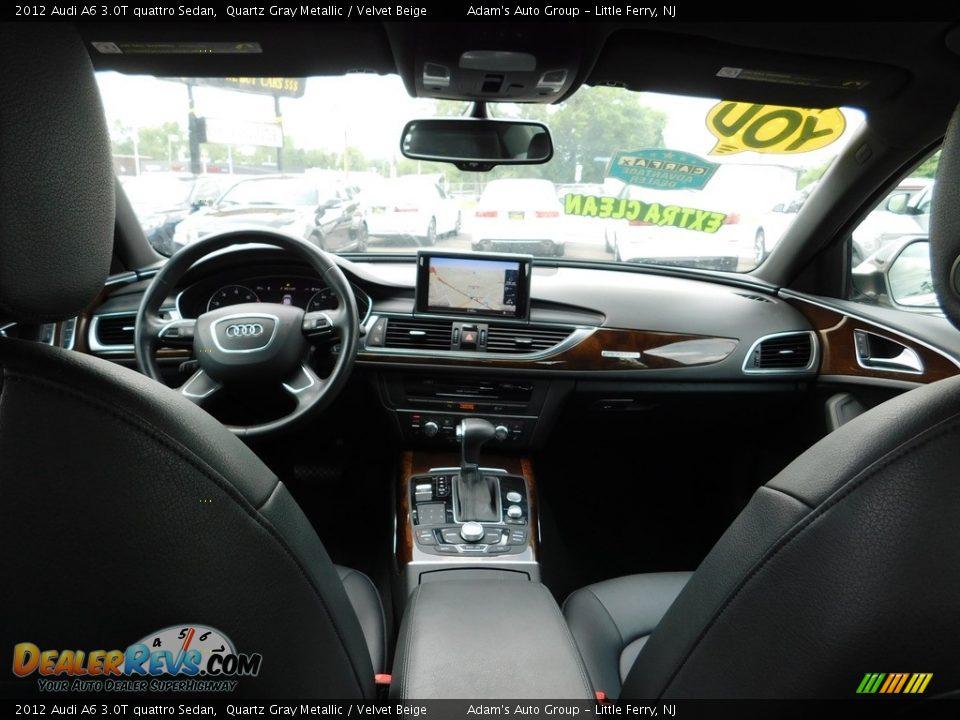 2012 Audi A6 3.0T quattro Sedan Quartz Gray Metallic / Velvet Beige Photo #35