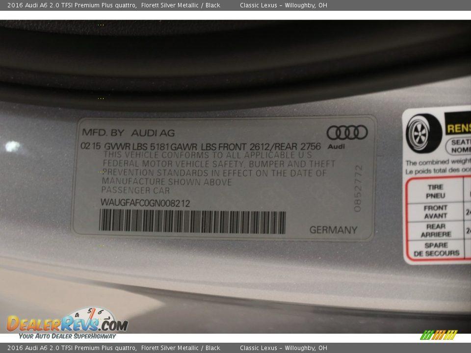 2016 Audi A6 2.0 TFSI Premium Plus quattro Florett Silver Metallic / Black Photo #18